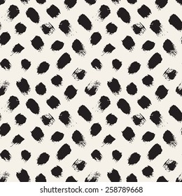 Vector seamless pattern. Abstract background with brush strokes. Monochrome hand drawn texture. Modern graphic design.