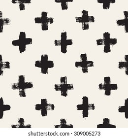 Vector seamless pattern. Abstract background with brush strokes. Monochrome hand drawn print. Hipster monochrome texture with crosses or pluses. Trendy graphic design.