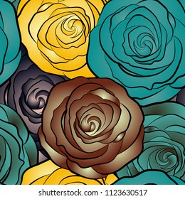Vector seamless pattern with abstract brown, blue and yellow roses. Decorative floral background with flowers of roses.
