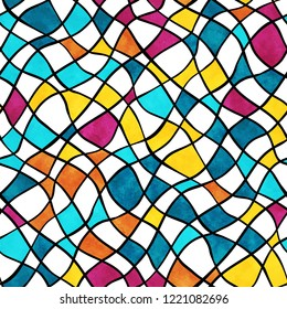 Vector seamless pattern with abstract colorful mosaic