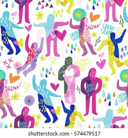 Vector seamless pattern of abstract dancing and hugging people in bright trendy color palette.