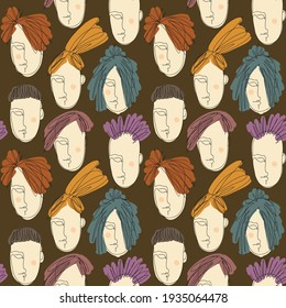 Vector seamless pattern with abstract faces. Line drawn portrait of people. Modern abstract faces with abstract shapes. Minimalism concept. Line art drawing style.