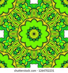 Vector Seamless Pattern With Abstract Floral Style. Repeating Sample Figure And Line. For FashionDesign, Wallpaper, Textile. Tribal Ethnic Arabic, Indian, Motif. For Interior Design, Wallpaper.