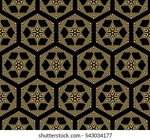 Vector seamless pattern with abstract floral and leave style. Repeating sample figure and line.