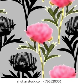 Vector seamless pattern with abstract flowers 7