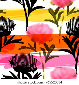 Vector seamless pattern with abstract flowers 6