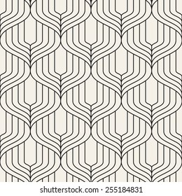 Vector seamless pattern. Abstract geometric background. Linear monochrome grid with wavy zigzag. Striped stylish trellis