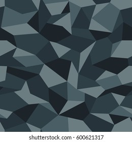 Vector seamless pattern. Abstract geometric blue camouflage.