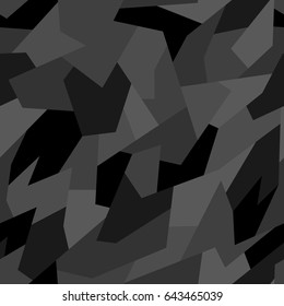 Vector seamless pattern. Abstract geometric monochrome camouflage.