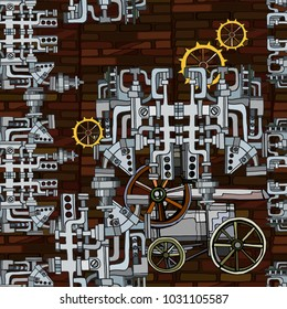 Vector seamless pattern. Abstract industrial background with fictional gearwheels and abstract details of machines illustrating retro technology or steampunk concept. Hand drawn.