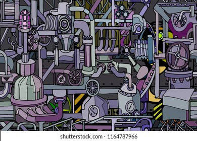 Vector seamless pattern with abstract industry or steampunk background. Fantasy technology or factory illustration with decorative machine sketch elements.  Hand drawn.