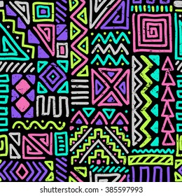 vector seamless pattern with abstract lines. geometric art print. fashion 80s-90s. memphis style design. ethnic hipster backdrop. Wallpaper, cloth design, fabric, paper, cover, textile. hand drawn.