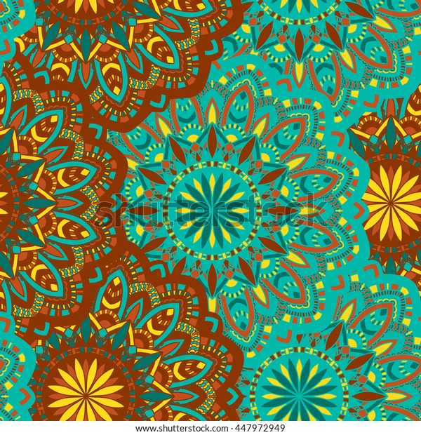 Vector seamless pattern with abstract ornament. Round mandala pattern for printing on fabric or paper. Ornamental doodle background.