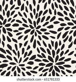 Vector seamless pattern. Abstract print with brush strokes. Monochrome hand drawn texture. Artistic tileable background with flowers.