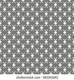 Vector seamless pattern. Abstract small textured background. Regularly repeating modern geometrical texture with rhombuses, crosses.