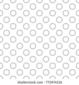 Vector seamless pattern. Abstract small textured background. Classical simple geometrical texture. Repeating round shapes with rhombuses. Surface for wrapping paper, shirts, cloths, press.