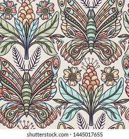 vector seamless pattern with abstract stylized butterflies and plants