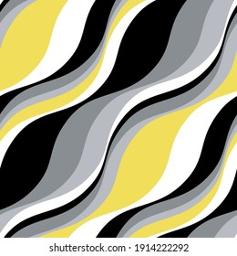 Vector seamless pattern. Abstract texture with contrast diagonal waves. Creative distorted background. Decorative black, white and illuminating yellow design. Can be used as swatch for illustrator.