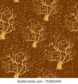 Vector seamless pattern with abstract trees in style of Gustav Klimt painting.