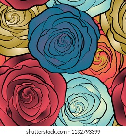 Vector seamless pattern of abstract yellow, blue and pink roses. Vintage Watercolor Roses (hand drawn).