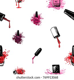 Vector seamless pattern with accessories for nail manicure. Watercolor-style art graphic icons on white background. Fashion illustration for beauty salon, uniform concept.