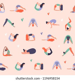 Vector seamless pattern with active young people in yoga asanas. Healthy lifestyle. Design elements