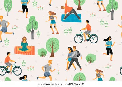 Vector seamless pattern with active young people. Healthy lifestyle. Roller skates, running, bicycle, walk, yoga. Design element in pastel colors with textures.