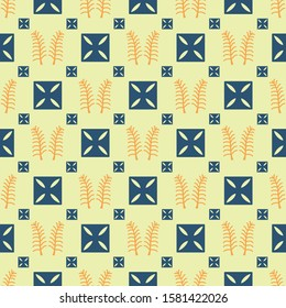 Vector seamless pattern with adinkra symbols. Ritual screen printing of African peoples and tribes .Symbols of trust and luck. Artistic hand-painted fabric .