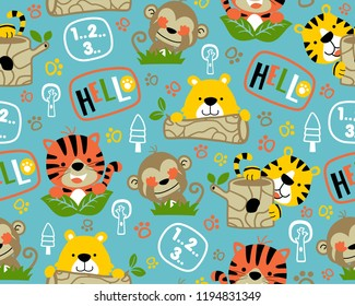 Vector of seamless pattern with adorable animals cartoon