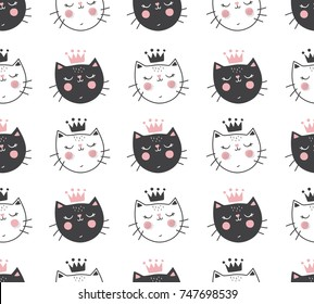 vector seamless pattern with adorable cat faces on isolated background