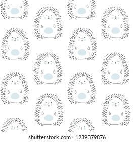 vector seamless pattern, adorable hedgehogs on a white background