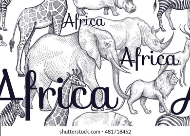 Vector seamless pattern African animals and inscriptions. Hand drawing black elephants, rhinos, giraffes, zebras, hippos, lions, antelopes on white background. Designs for fabrics, textiles, paper.