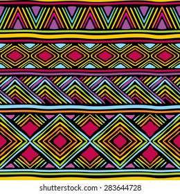 vector seamless pattern with African geometric ornament
