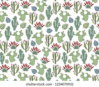 Vector seamless pattern with African tropical cacti, succulents and leaves on white, endless texture - for design of clothes, baby textiles, prints, posters, greeting cards, etc.