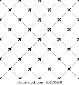 Vector seamless pattern, airplane, Editable can be used for web page backgrounds, pattern fills