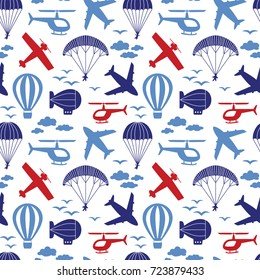 Vector seamless pattern with airplanes, helicopter, parachute, balloon, airship in the clouds