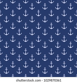Vector seamless pattern with anchor. Nautical background. Marine pattern. Vector illustration