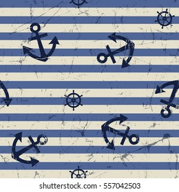 vector seamless pattern: anchor and steering wheel.