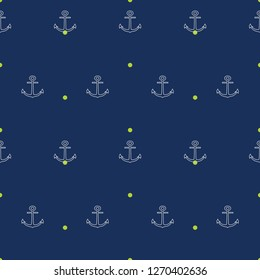 Vector seamless pattern with anchors on dark blue and lime dots background. Great as a textile print, party invitation or packaging.