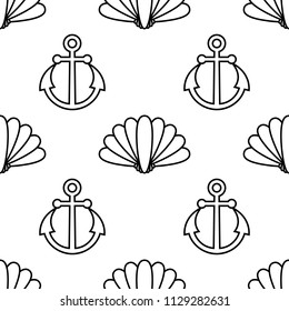 Vector seamless pattern with anchors and shells