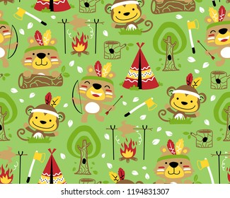 Vector of seamless pattern with animals cartoon with indian feather headdress