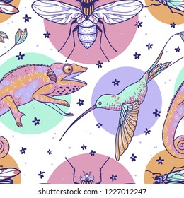 Vector seamless pattern with animals, insects and colored circles