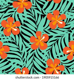 Vector seamless pattern in applique style with tropical palm leaves and flowers