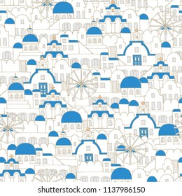 Vector seamless pattern with architecture of Santorini. Pattern on the theme of travel and tourism