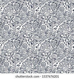 Vector seamless pattern with art ornament. Vintage elements for design in Eastern style. Ornamental lace tracery background. Ornate morocco decor for wallpaper. Endless texture