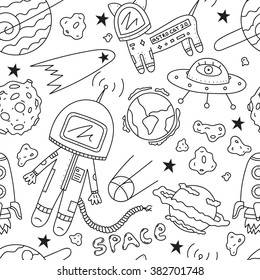 Vector seamless pattern of astronaut, planets, ufo, rocket, constellations, stars, cosmo cat and asteroids on white background.