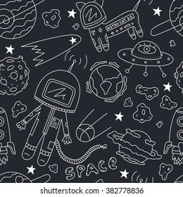 Vector seamless pattern of astronaut, planets, ufo, rocket, constellations, stars, cosmo cat and asteroids on dark background.