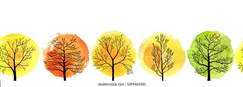 vector seamless pattern with autumn deciduous trees and watercolor foliage, hand drawn natural border