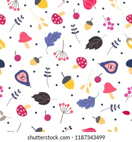 Vector seamless pattern with autumn fall leaves, mushrooms and berries. Floral graphic design. Hand drawn autumn botany texture. Perfect for wrap paper, wallpaper, background and seasonal textile.
