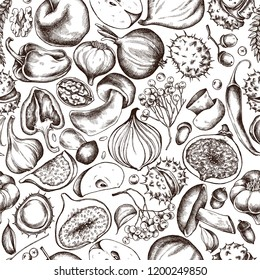 Vector seamless pattern of autumn fruits and vegetables pattern. Hand drawn vector illustration